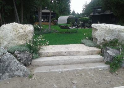 Limestone boulders and steps