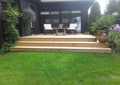 Deck built using pressure treated lumber