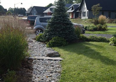 Dry riverbed through garden beds