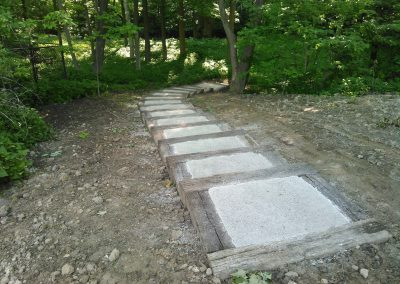 Steps built using railway ties and screenings